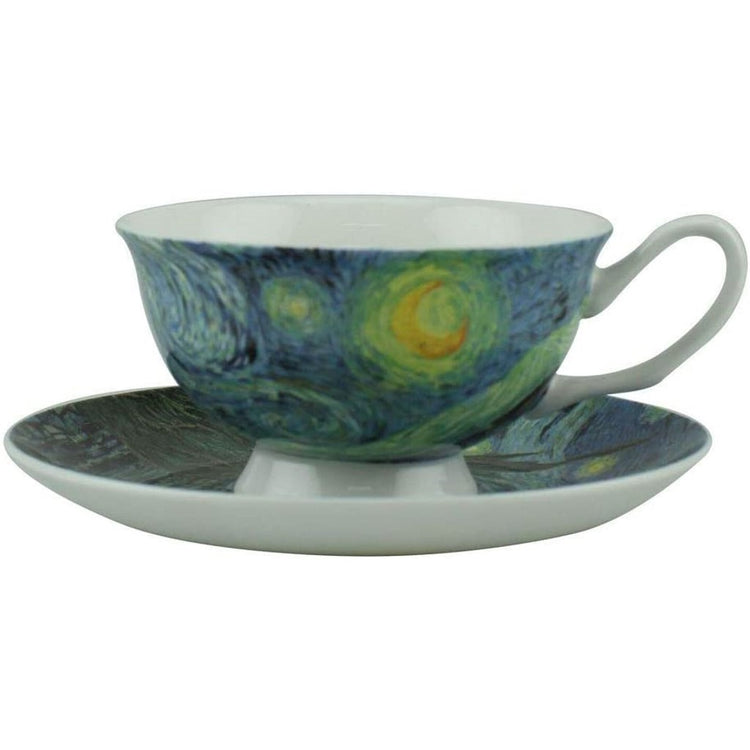 cup and saucer showing van gogh's starry night painting