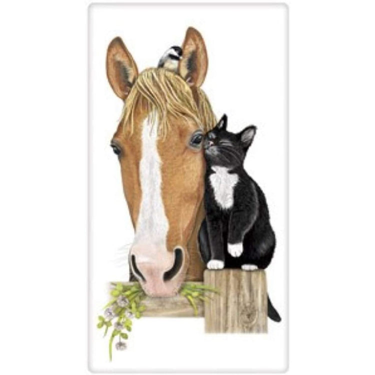 Horse and Cat Flour Sack Towel