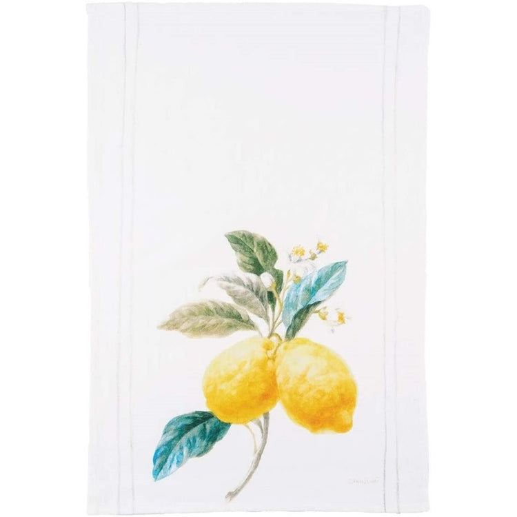 White towel with 2 yellow lemons on a branch.