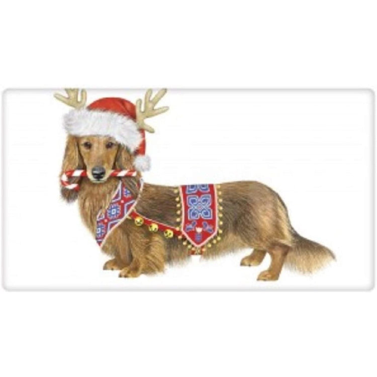 White towel with dachshund in a nordic style harness and santa hat with antlers.