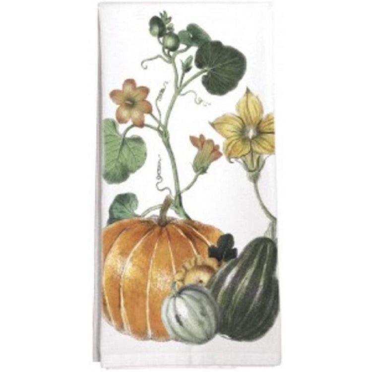 white towel with orange and green pumpkin with vine design and yellow flowers