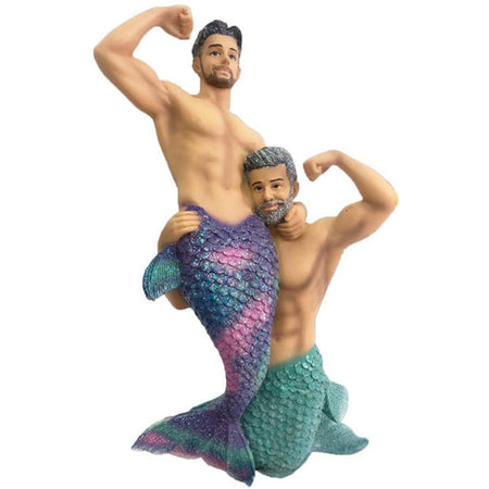 two mermen, one with blue tail, one with purple and pink tail