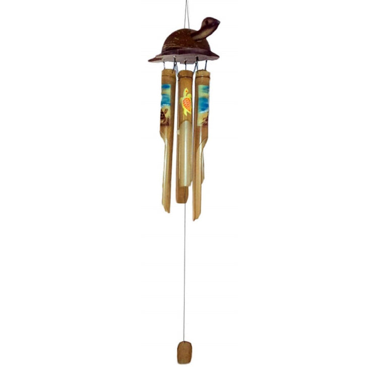 Bamboo turtle with lighter hand-painted bamboo chimes hanging below it.