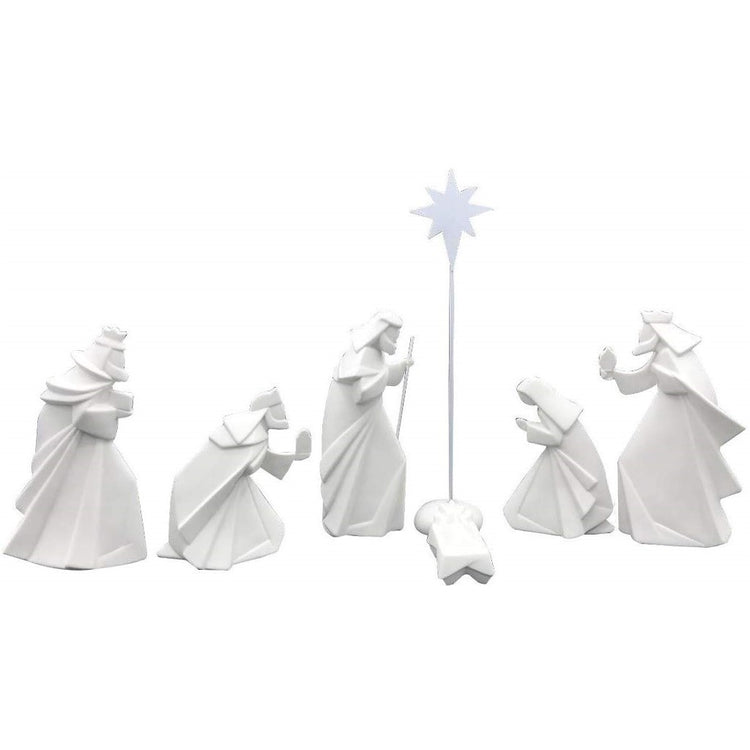 white angular nativity figures face cradle with star above.