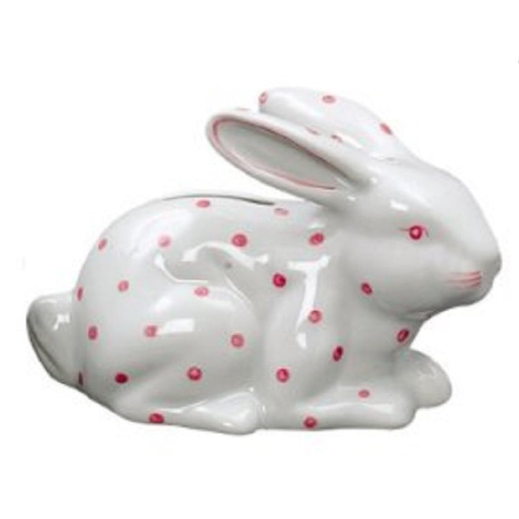 White bunny bank with pink polka dots, eyes, and whiskers.