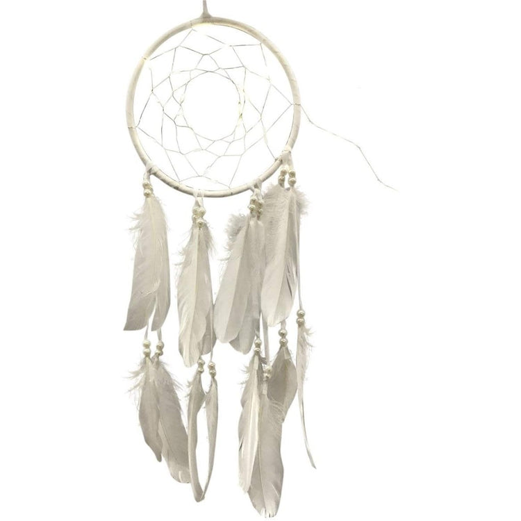 white dream catcher with feathers, beads and led lights