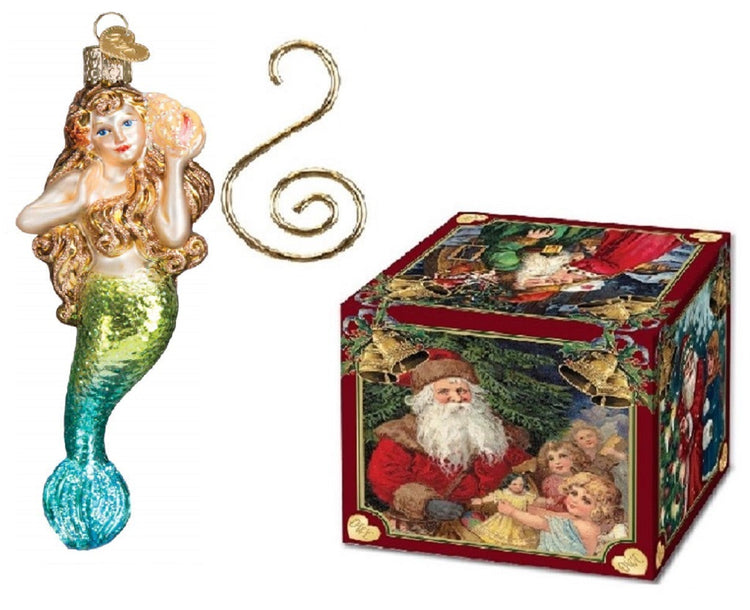 Old World Christmas Glass Blown Mermaid Ornament with S-Hook and Gift Box