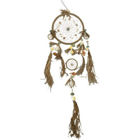 dream catcher made of raffia and shells