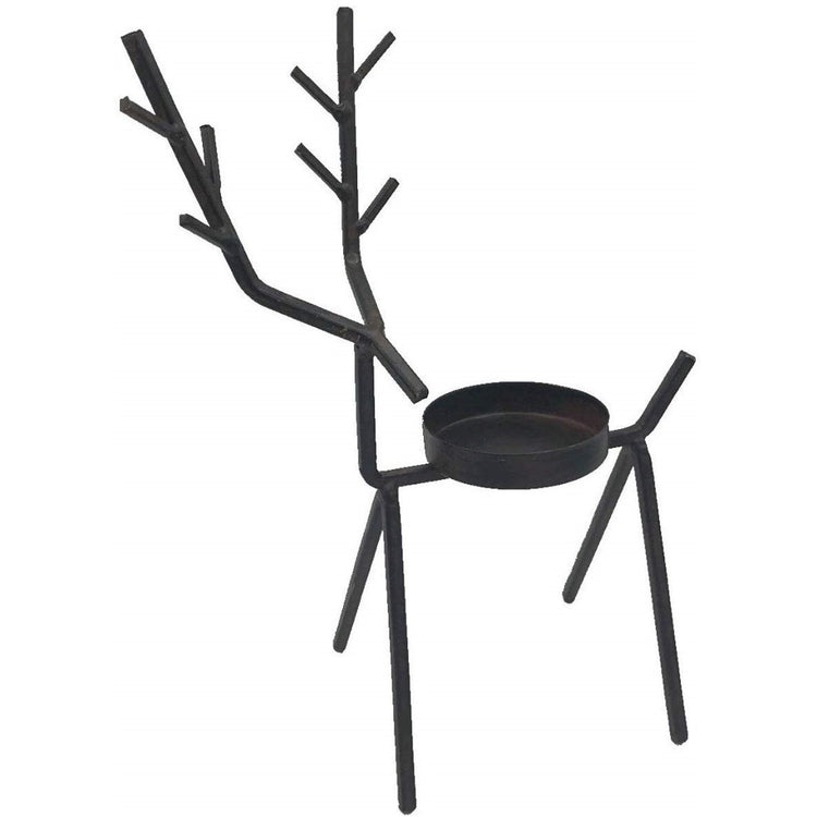 Wire tealight holder in black shaped like a deer.