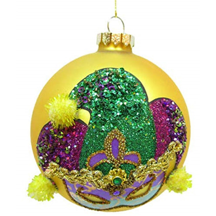 yellow ball ornament with a mask & purple & green hat