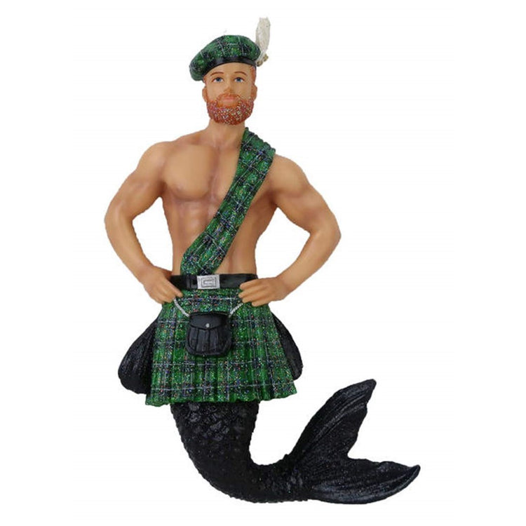 Mermaid figurine ornament.  Typical green and black plaid skirt and sash with matching beanie cap.