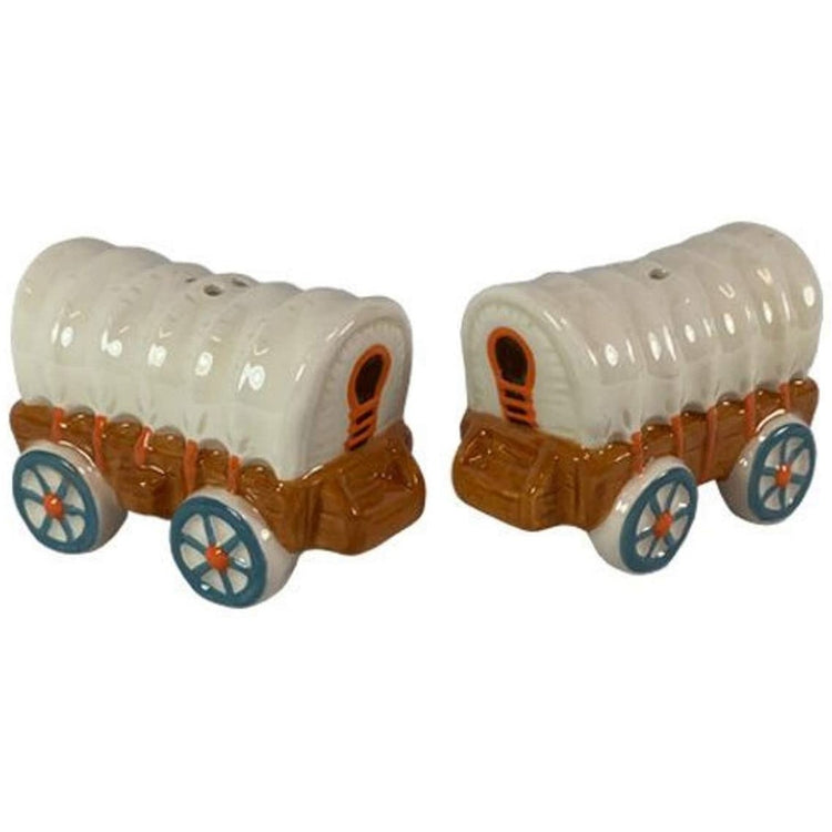 Covered wagon shaped salt and pepper.  Cream cover, brown wagon, teal spokes on wheels.