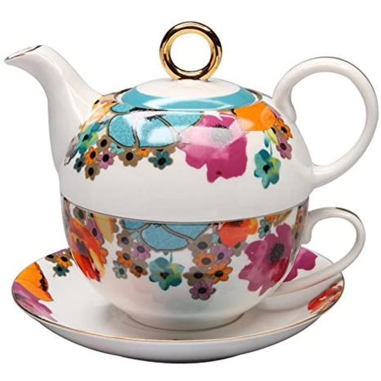 Tea set with pink, blue, orange, & brown poppies all over it. Gold trim on the lid & cup.