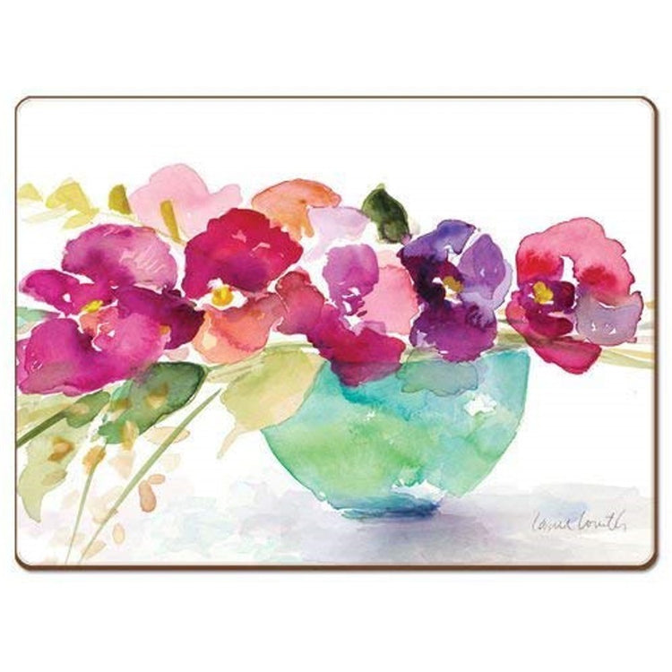 Rectangle shaped hardboard placemat with print of a bowl of floral blooms.