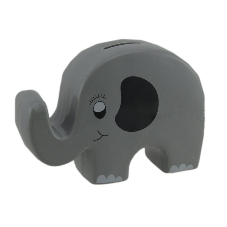 Flat shaped elephant bank. Grey and black.