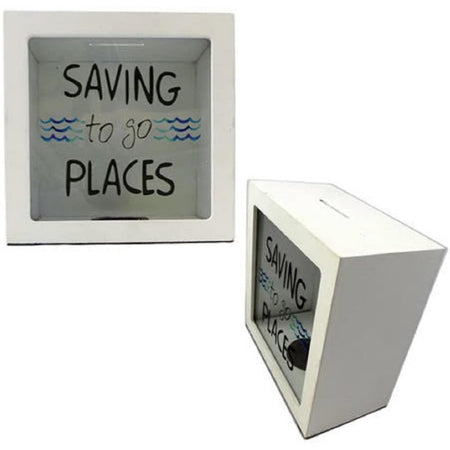 White wooden box, clear glass front that reads saving to go places in black.