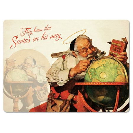 2 Hardboard Placemats, Santa Is Coming