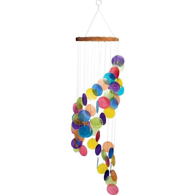 Spiral shape capiz shell chime in rainbow colors with wooden top.