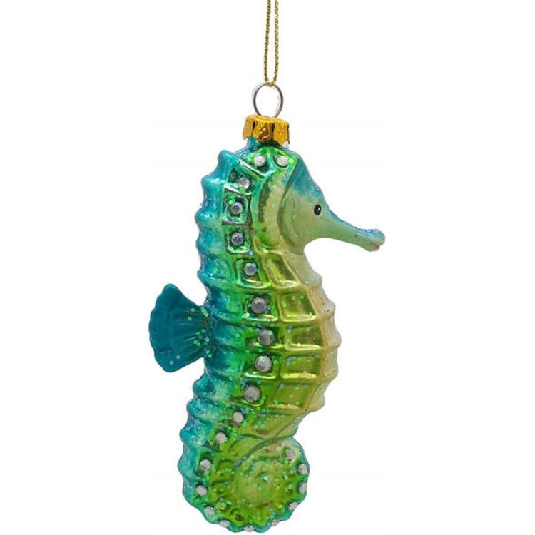 Seahorse shaped hanging ornament shades of blue fade to green.