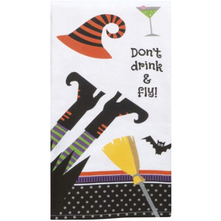 """Don't drink & fly!"" witch towel"
