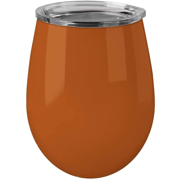 Dark burnt orange tumbler with a clear lid.
