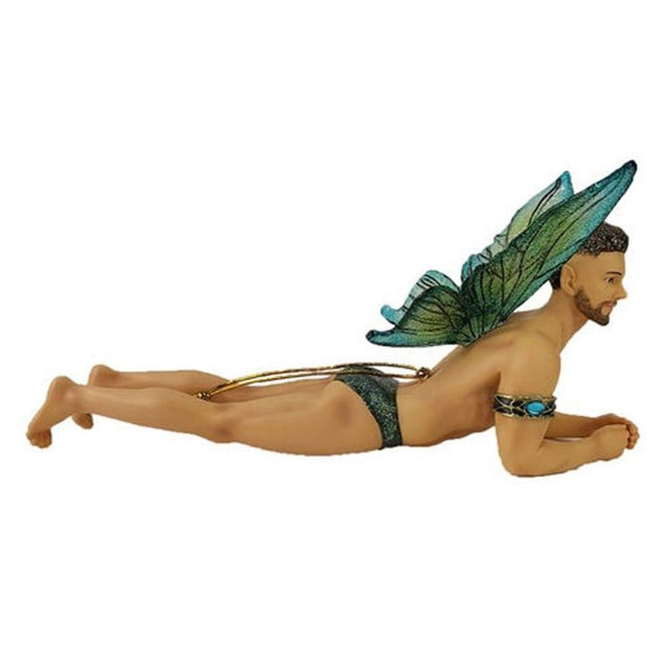 Fairy figurine shaped hanging ornament.  He is wearing teal  bathing suit and arm band, he is lying on his stomach up on arms.