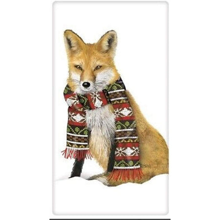 White towel with a red fox wearing a red & black winter scarf.