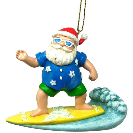 Santa on a yellow surfboard riding a wave