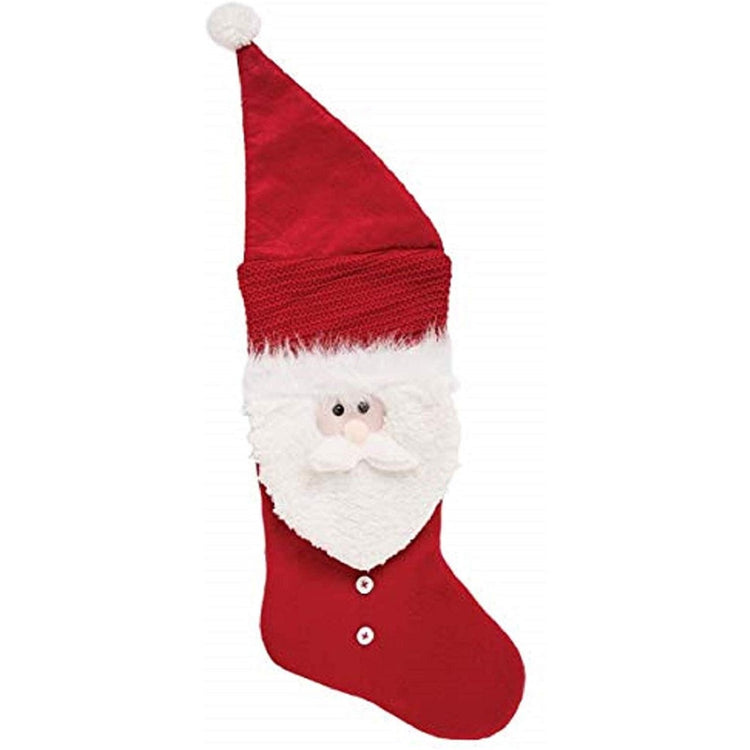 Red stocking has hat with white ball on type. Santa face in middle of stocking with 2 white buttons below face.