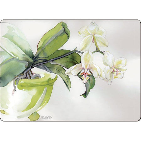 Hardboard placemat showing a potted white orchid flower on a cream background.