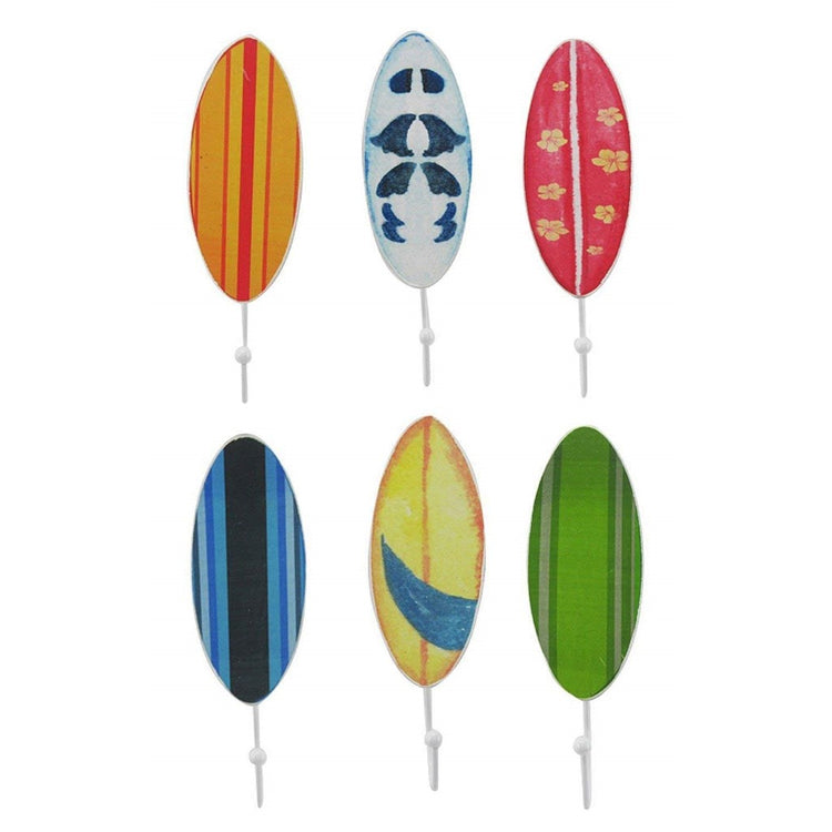 6 surfboards with white wall hooks. The surfboards are assorted with the colors, blue, green, pink, yellow & white.