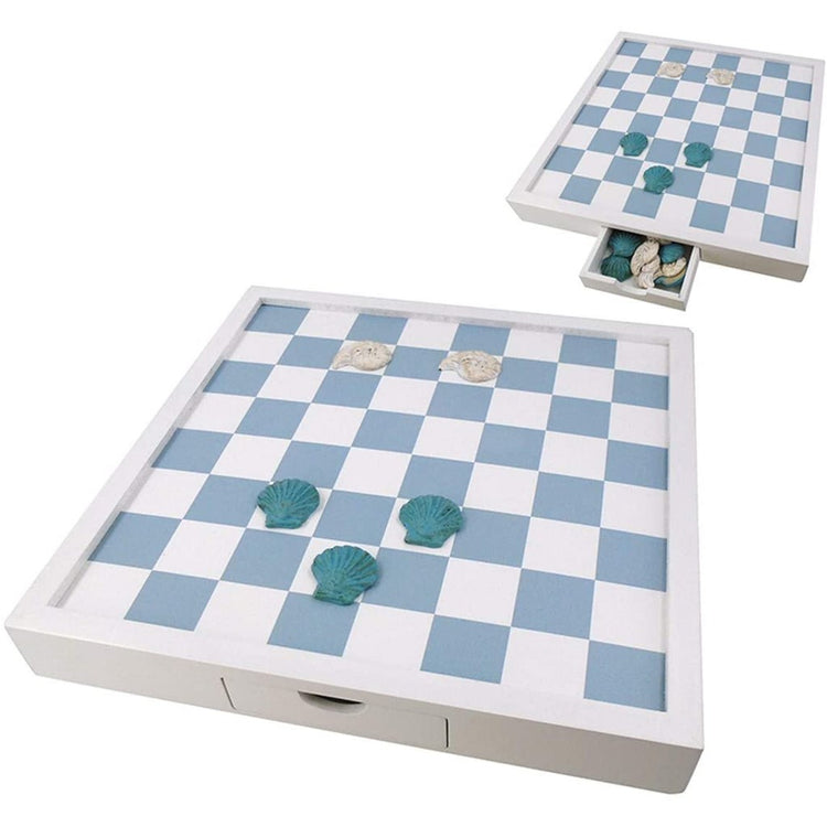 White board with light blue and white checkers. Comes with white and teal shell pieces.