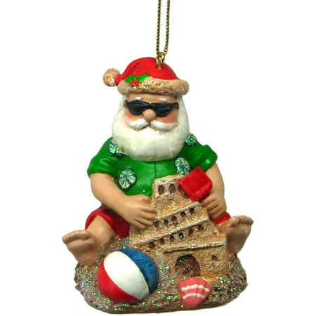 Santa With Sandcastle Resin Hanging Ornament