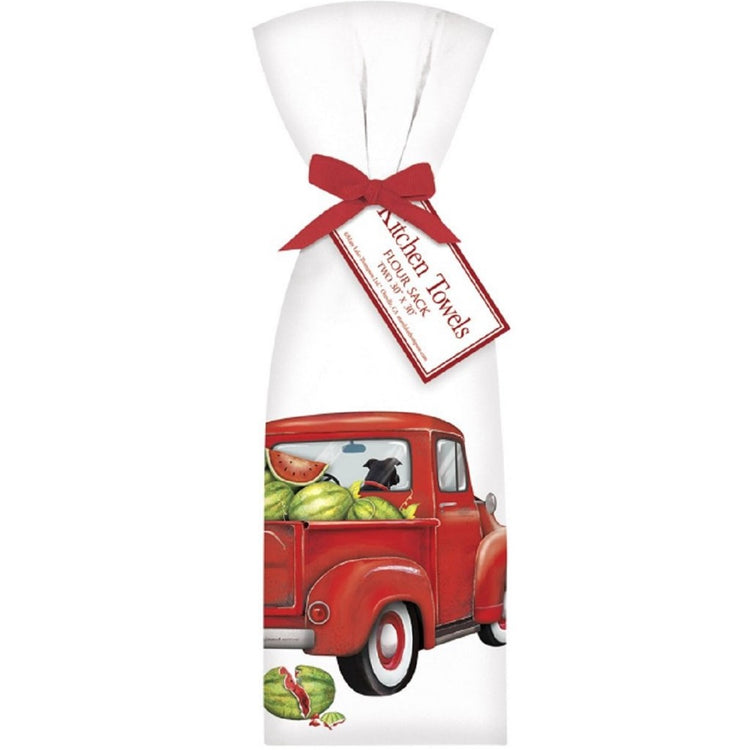 2 Watermelon Truck Ribbon Tied Flour Sack Towels T1916 30 Inches Square