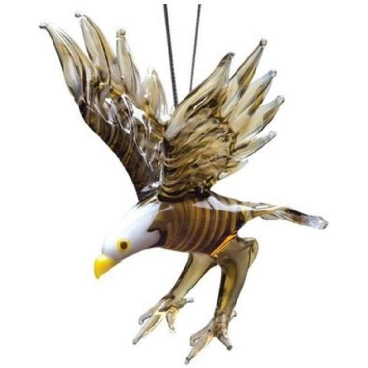 Blown glass flying bald eagle ornament.
