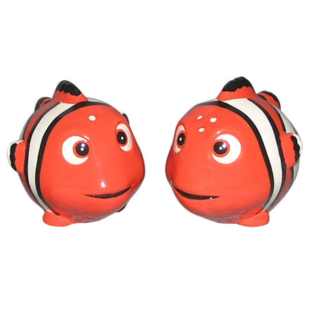 Orange happy clown-fish shakers with white & black stripes.