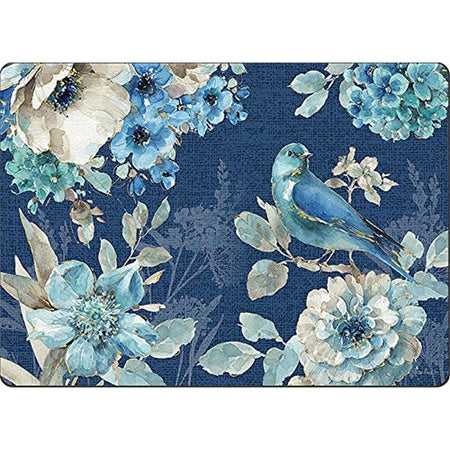 Dark blue placemat with a blue bird and flowers in shades of white and blue with some gold accents.