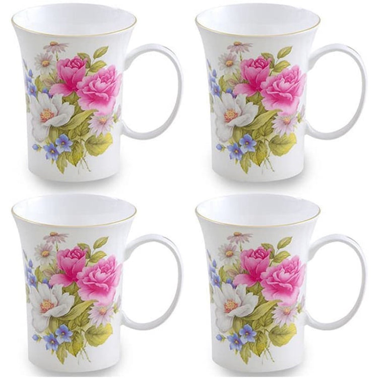 White mug with pink, white, & blue assorted flowers & green leaves.