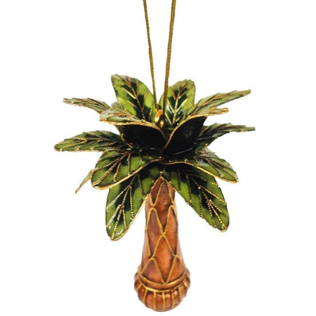 Cloisonne Palm Tree Hanging Ornament, Enamel on Copper