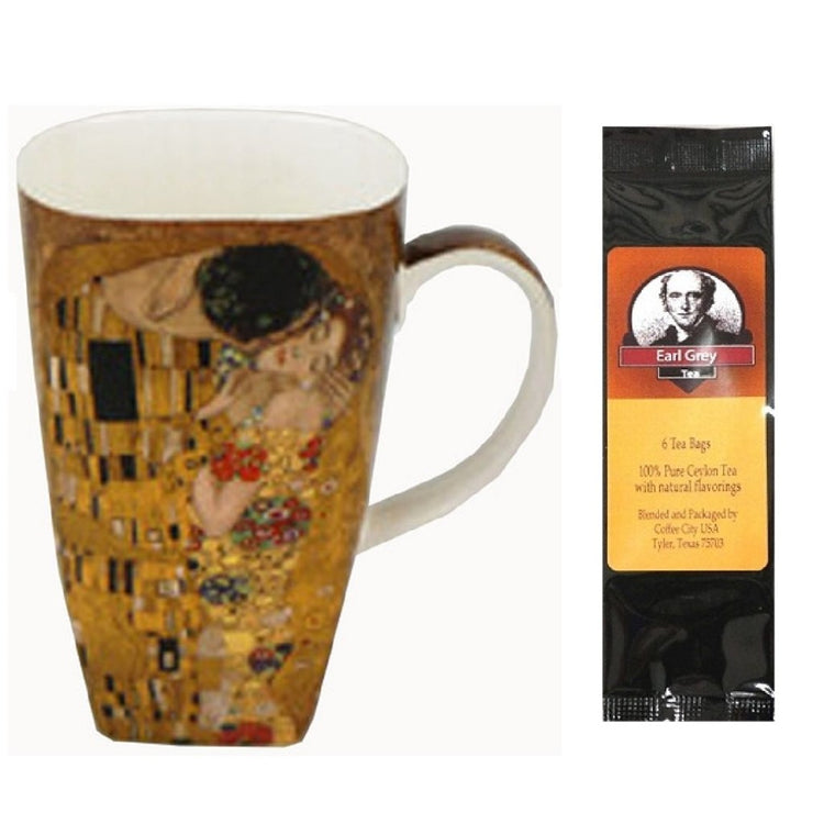 Grande coffee cup with Klimt the Kiss print all around.  Earl Grey tea package.
