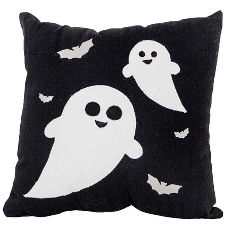 Square shaped black pillow with white ghosts and bats accent.