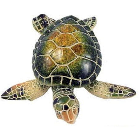 sea turtle figurine in natural greens, tans and off white accents.
