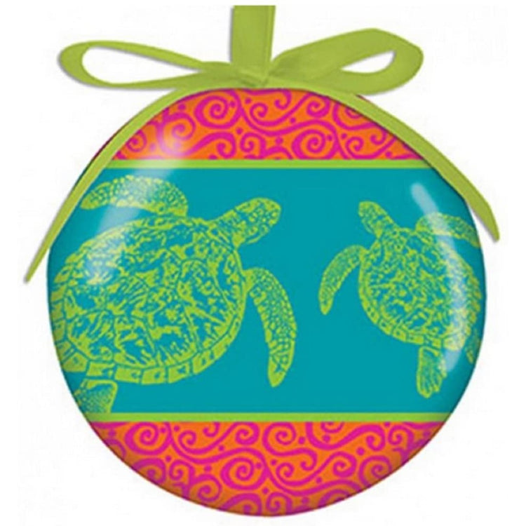 round ornament with coral striped and green turtles. hanging by green ribbon