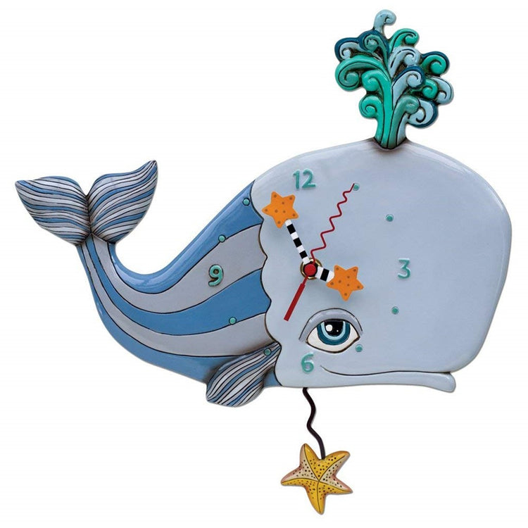 Spouting whale design wall clock with starfish pendulum.