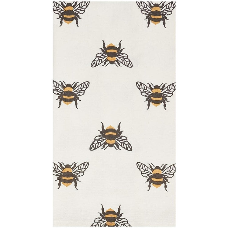 Off-white towel with black & yellow bumble bees on it.