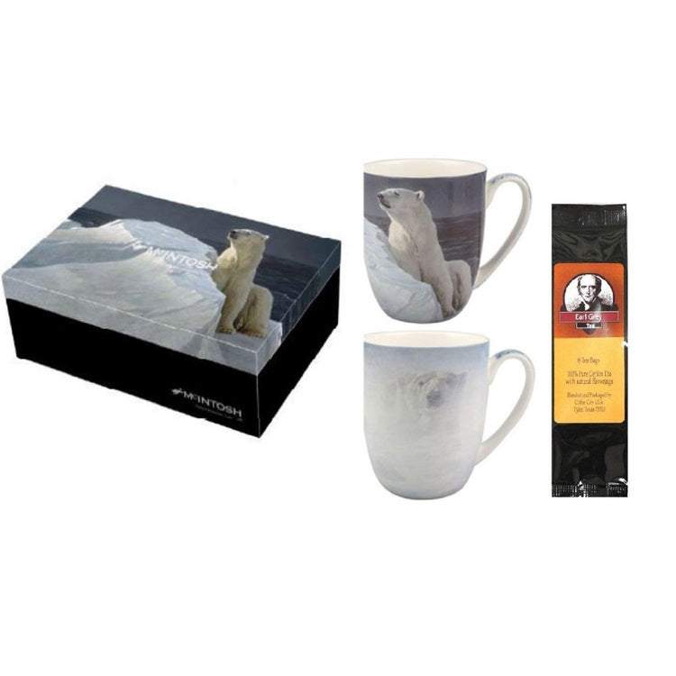 2 mugs & gift box with a black package of  tea. Both mugs & the box show variations of Robert Bateman Polar Bears.