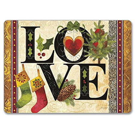 Hardboard placemat with gold & red border, Black letters spelling love, a red heart, 2 red and green stockings & holly.