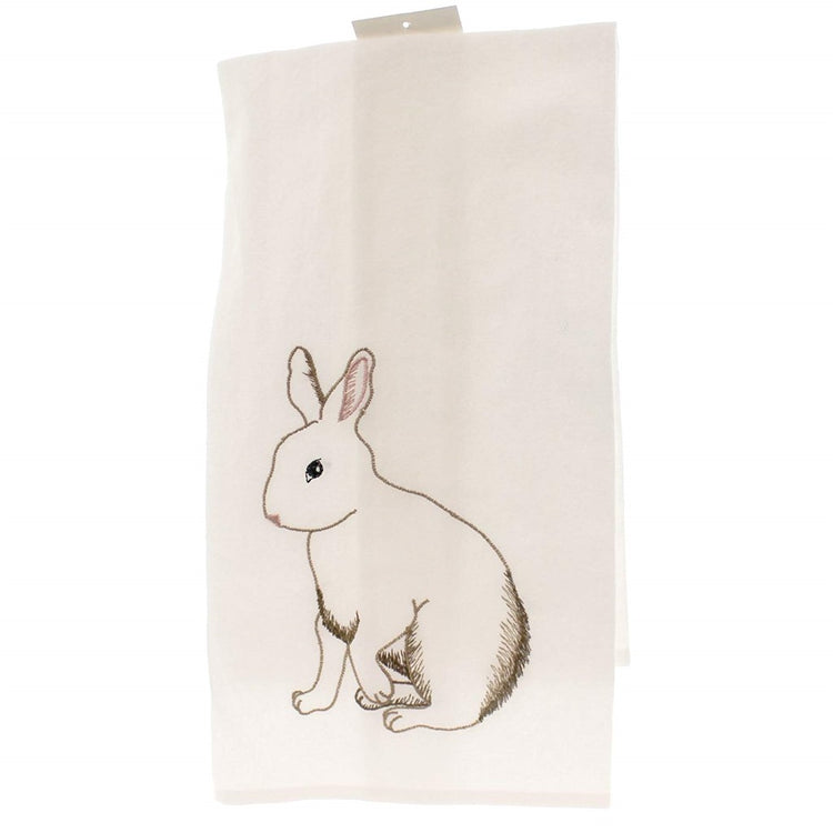 White folded dishtowel with full rabbit design.