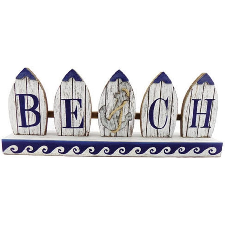 wood sign painted white & blue accents, Shaped like rowboats spelling beach.