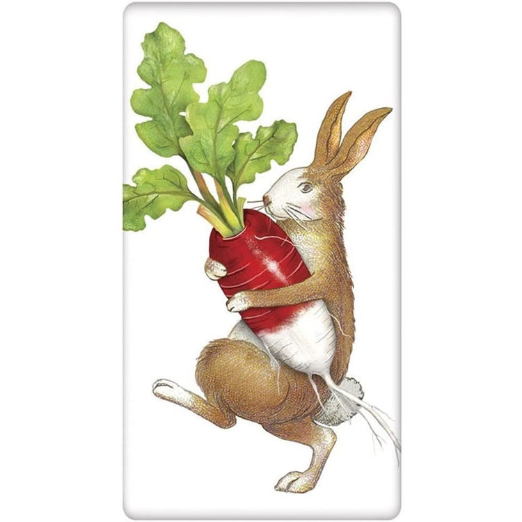 Brown and white rabbit carrying a red radish with green leaves.